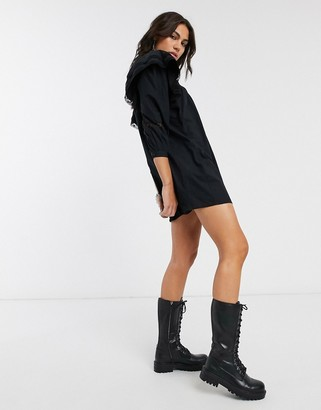 Bershka lace detail poplin smock dress in black