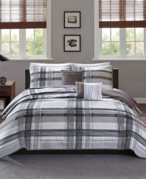 Intelligent Design Rudy Reversible 5-Pc. Plaid Quilted Full/Queen Coverlet Set Bedding
