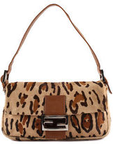 Fendi Brown Small Leopard Printed Leather Trim Small Shoulder Handbag MHL