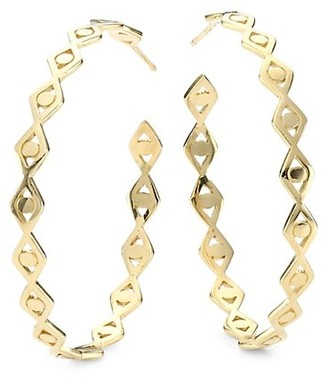 Sydney Evan 14K Yellow Gold Evil Eye Link Large Hoop Post Earrings