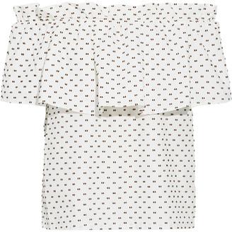 Baum und Pferdgarten Moniq Off-the-shoulder Ruffled Fil Coupe Cotton-poplin Top
