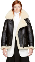 Burberry Black Yeoville Shearling Aviator Leather Jacket