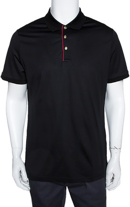 Burberry Black Stretch Cotton Contrast Trim Fitted Polo T- Shirt XL