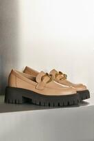 Thumbnail for your product : Karen Millen Gold Trim Platform Leather Loafer