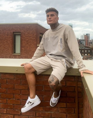 Mennace panelled sweatshirt co-ord with tech pockets in beige