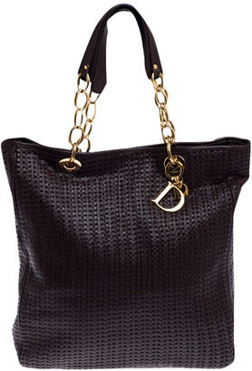 Christian Dior Brown Woven Leather Large Soft Shopping Tote