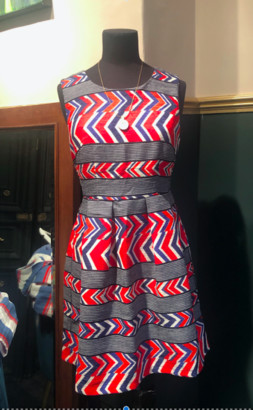 Paradise Boutique - Aztec Dress - Small - 8-10 - Red/Grey/Blue