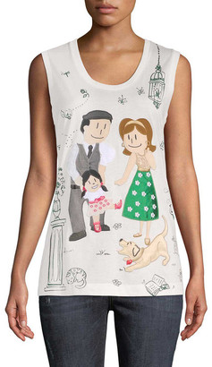 Dolce & Gabbana Family Graphic Embellished Tank