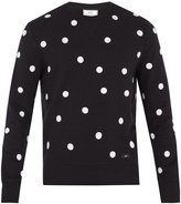 Ami Polka-dot embroidered cotton sweatshirt