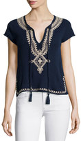 Calypso St. Barth Solney Embroidered Cashmere Sweater, Navy
