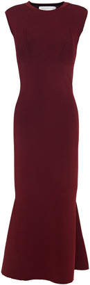 Victoria Beckham Fluted Ribbed-knit Midi Dress