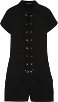 Roberto Cavalli Lace-up stretch-cotton playsuit