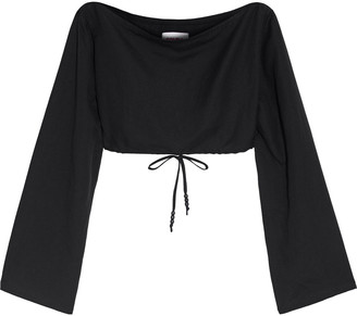 Solid & Striped Cropped Bead-embellished Linen-blend Top