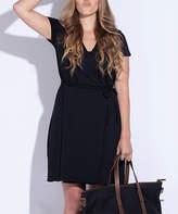Pact Women's Casual Dresses Black - Black Organic Cotton Wrap Dress - Women
