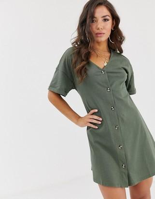 Asos Design DESIGN mini slub button through swing dress-Green