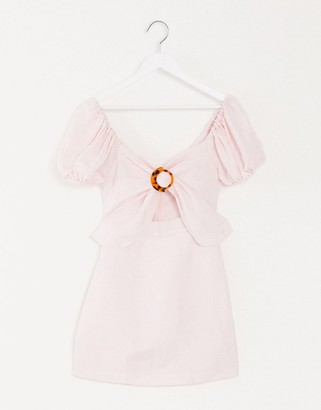 Significant Other Solace puff sleeve mini dress in flamingo