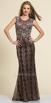 Dave and Johnny Shimmering Embellished Floral Evening Gown