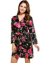 Avidlove Womens Kimono Short Robe Satin Blossoms Bridesmaid Bathrobe Sleepwear