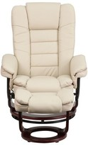 BEIGE Multi-Position Horizontal Stitching Manual Swivel Recliner with Ottoman Charlton Home Fabric