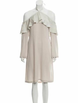 Vivienne Hu Long Sleeve Knee-Length Dress Beige