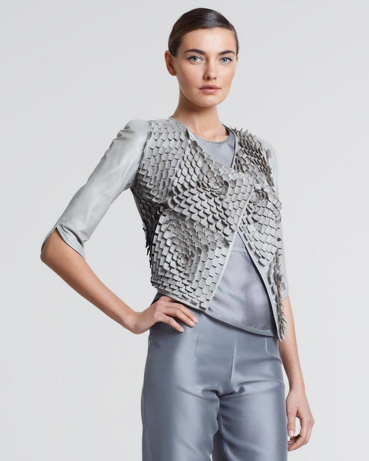 Giorgio Armani Laser-Cut Leather Jacket, Greige