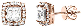 Bliss Rose Gold Princess-Cut Stud Earrings With Swarovski® Crystals