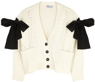 RED Valentino Ivory Bow-embellished Wool-blend Cardigan