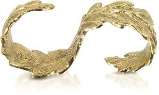 Bernard Delettrez Two Fingers Bronze Leafy Ring