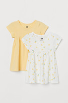 H&M 2-pack Cotton Dresses - Yellow