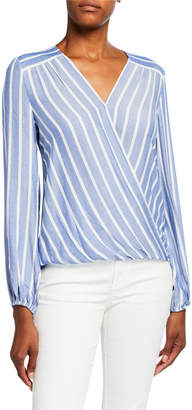 Max Studio Striped Crossover Long-Sleeve Top