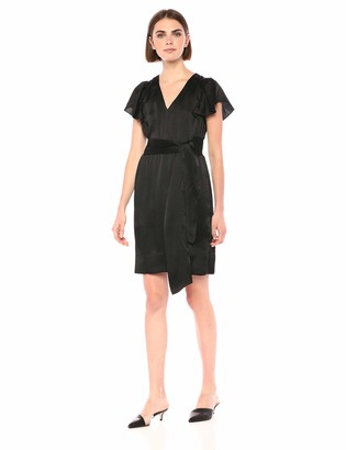 Rebecca Taylor Women's Sleeveless Silk V-Neck Dress with Tie Waist