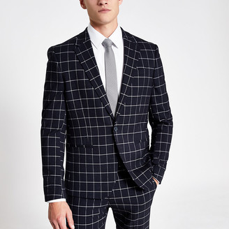 River Island Navy check skinny suit jacket