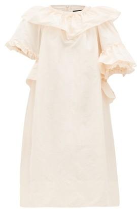 Simone Rocha Asymmetric Ruffle-trimmed Taffeta Dress - Womens - Pink