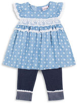 Little Lass Girls 2-6x Two-Piece Printed Top and Capri Pants Set