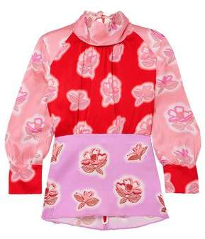Peter Pilotto Floral-print Hammered Silk-satin Blouse
