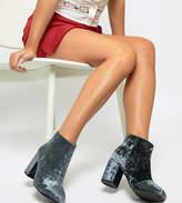 Asos Design DESIGN Wide Fit Beacon velvet zip ankle boots
