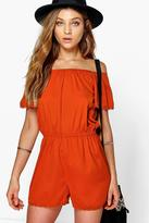 Boohoo Lola Off The Shoulder Woven Playsuit