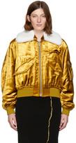 Haider Ackermann Gold Velvet Bomber Jacket