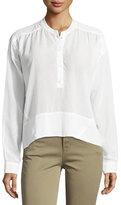 J Brand Gail Long-Sleeve Poplin Top, White