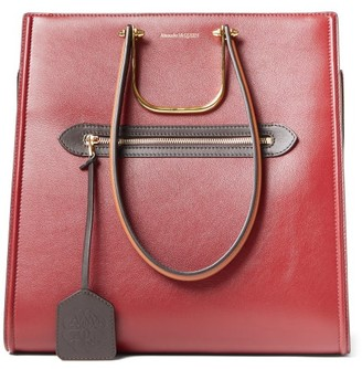 Alexander McQueen The Tall Story Leather Tote Bag - Burgundy Multi