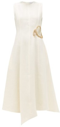 J.W.Anderson Crystal-embellished Linen Midi Dress - Cream
