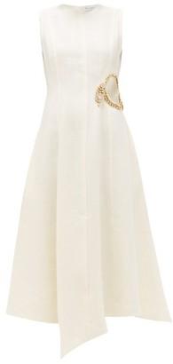 J.W.Anderson Crystal-embellished Linen Midi Dress - Womens - Cream