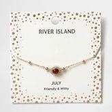 River Island Womens Red gem July birthstone bracelet