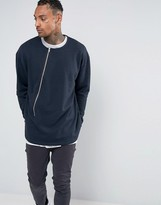 Asos Oversized Sweatshirt With Assymetric Zip
