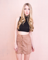 Missy Empire Gaby Camel Button Front Suede Mini Skirt
