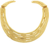 Kenneth Jay Lane Hammered gold-plated bib necklace