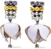 Marni Gunmetal-tone, Poplin And Crystal Clip Earrings
