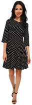 Yumi Spot Skater Style 3/4 Sleeve Dress