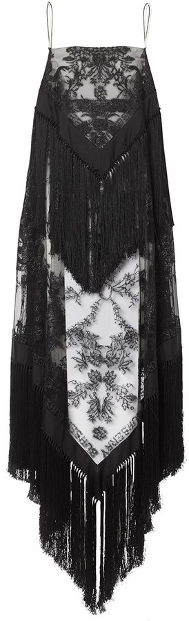 Burberry Fringed Embroidered Scarf-Dress