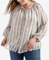 Lucky Brand Trendy Plus Size Striped Shirt
